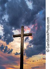 cristiano, cruce, ocaso, plano de fondo