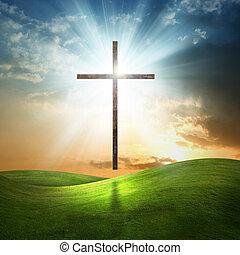 cristiano, cruz, en, herboso, fondo.