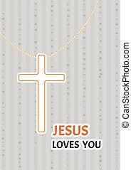 cristiano, cruz, en una cadena