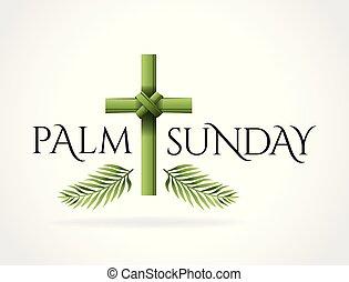 cristiano, cruz, ilustración, domingo, tema, palma