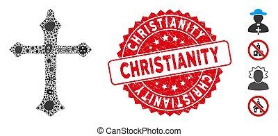 cristiano, cruz, mosaico, redondo, cristianismo, biohazard,...
