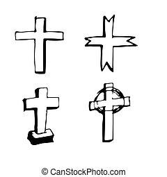 cristiano, cruz, señal, mano, empate, garabato, ilustración, diseño