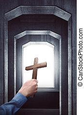 cristiano, cruz, tenencia, mano