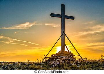 cristiano, de madera, cruz, en, colina
