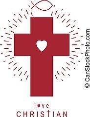 cristiano, dio, croce, cristianesimo, religione, vettore, icon., simbolo