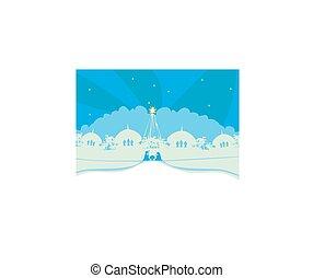 cristiano, escena natividad navidad, de, bebé jesús, en, pesebre