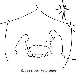 cristiano, escena natividad navidad, de, bebé jesús, en, pesebre, con, maría, y, joseph, vector, ilustración, negro, contornos, aislado, blanco, plano de fondo