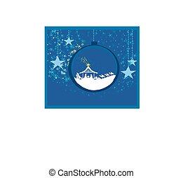 cristiano, escena natividad navidad, de, bebé jesús, en, transparente, pelota, ahorcadura, resumen, plano de fondo