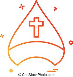 cristiano, gorra, cruz, vector, diseño, icono