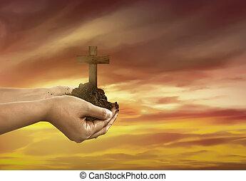 cristiano, humano, tierra, cruz, mano, tenencia