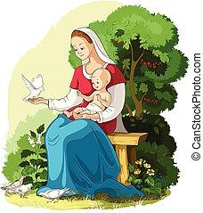 cristiano, illustrazione, gesù, vettore, mary, presa a terra, madre, bambino, cartone animato