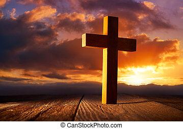 cristiano, madera, cruz, en, cielo de puesta de sol