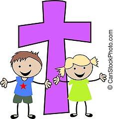 cristiano, niños, con, cruz