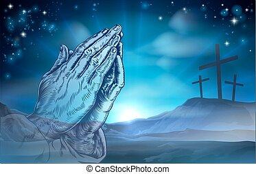 cristiano, pascua, obreros rezando, y, cruces