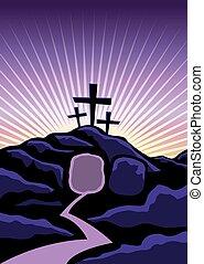 cristiano, pascua, plano de fondo, ilustración