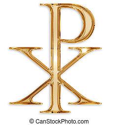cristiano, plano de fondo, símbolo de chi, aislado, rho, ...