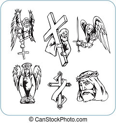 cristiano, religión, -, vector, illustration.