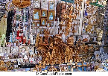 cristiano, símbolos, en, el, jerusalén, este, mercado