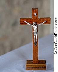 cristiano, tela, de madera, altar, fondo., crucifijo, faith., blanco