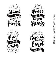 cristiano, vector, bíblico, emblema, conjunto