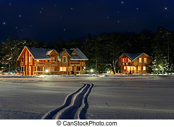 Cristmans eve - stars sparkle photo collage with cottage...
