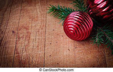 cristmas, cartão, com, espaço cópia, para, seu, texto, decorações natal, sobre, antigas, madeira, fundo, vindima, efeito