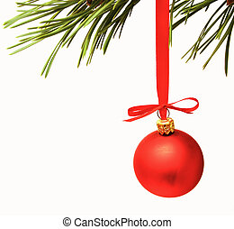 cristmas decoration red balls on white background