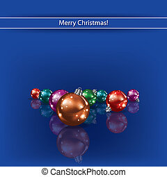 Cristmas decorations on blue background