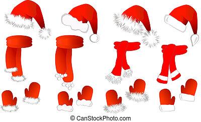 cristmas, echarpe, claus, chapéu santa, mittens, set: