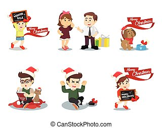 cristmas home cartoon set