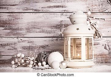 cristmas, latarnia, z, śnieg