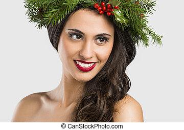 cristmas, mode, meisje