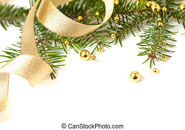 Cristmas seasonal background with spruce and golden beads isolated