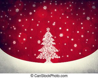 Cristmas tree and snowflake. Retro style.