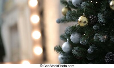 Cristmas tree with toys on lights background background