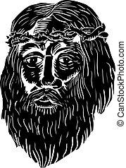 cristo, corona de espinas, woodcut