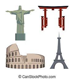 cristo, estatua, coliseum, torre eiffel, portal, o, tori, puerta