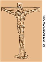 cristo, highlights., cruz, jesús, ahorcadura, blanco