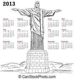 2013 calendar with illustration of famous tourist destination Christ the redeemer, Rio de Janeiro Brazil.