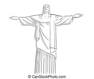 cristo redentor, estatua, contorno, bosquejo
