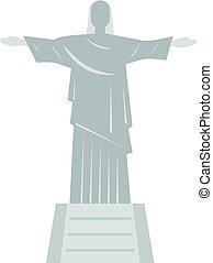 cristo redentor, estatua, icono, aislado