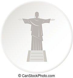 cristo redentor, estatua, icono, círculo