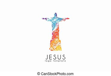 cristo redentor, estatua, logo., jesús, logo.