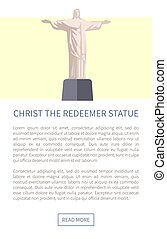cristo redentor, estatua, vector, ilustración