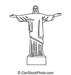 cristo redentor, icono, en, contorno, estilo, aislado, blanco, fondo., brasil, país, símbolo, acción, vector, illustration.