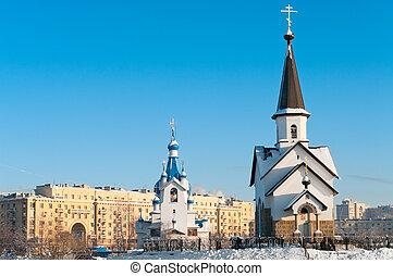 cristo, s., iglesia, natividad, tiempo, russia., petersburg...