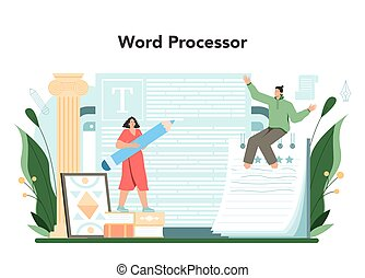 Critic online service or platform. Journalist making review on piece art. Specialist making an opinion on creative works. Online word processor. Flat vector illustration