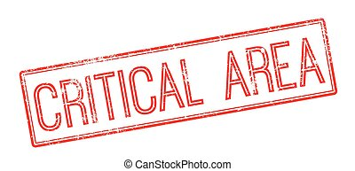 Critical Area red rubber stamp on white. Print, impress, ...
