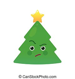 Critical christmas tree isolated emoticon