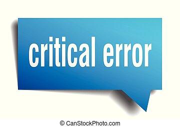 critical error blue 3d speech bubble
